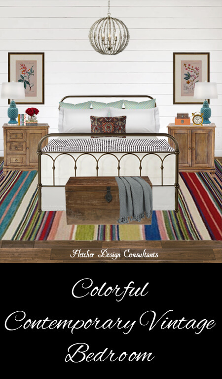 Colorful Contemporary Vintage Bedroom - metal bed, rug, wood floors, shiplap, farmhouse, lamps, chandelier