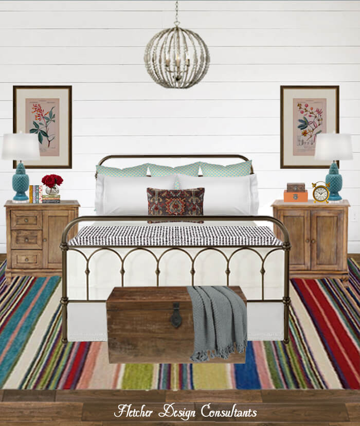Colorful Contemporary Vintage Bedroom