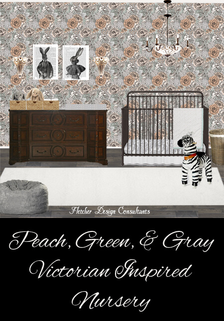 Peach Green Gray Victorian Inspired Nursery