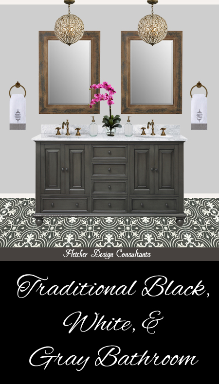Traditional Black, White, and Gray Bathroom - edesign, interior designer, decorator, ideas, vanity, marble, faucet, floor, mirror, pendant light, chandelier, accessories