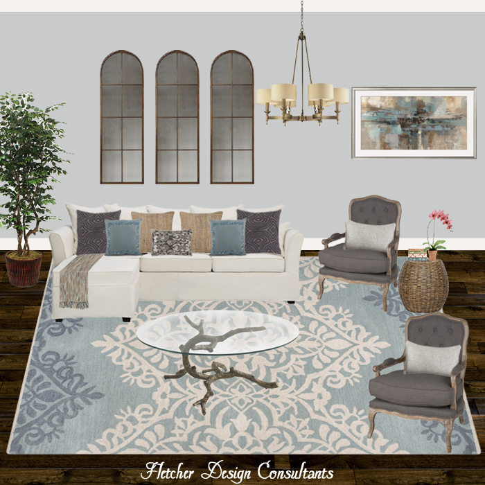 Fun Design Friday -  Contemporary Blue, Gray, And Gold Living Room - interior designer, decorator, decorate, decor, den, great room, sofa, chairs, art, chandelier, rug, accessories