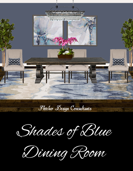 Shades of blue dining room - interior design, decorating, plan, contemporary, traditional, beige, gold, orchid, pink, rug, table, chairs, pillows, trees, art, chandelier, crystal