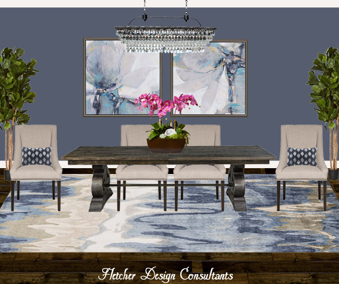 Fun Design Friday - Shades of Blue Dining Room.  Interior designer, decorator, table, chair, chandelier, rug, art, flowers, ideas, decorating