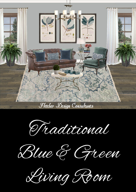 Traditional Blue And Green Living Room Rendering